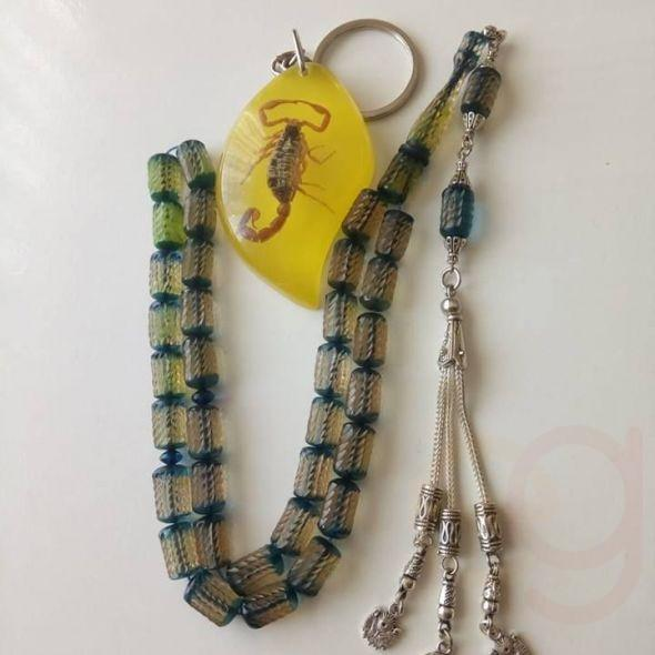 Exclusive collectible keychain tassels 925 Silver Scorpion amber color product sliding fire fosilli