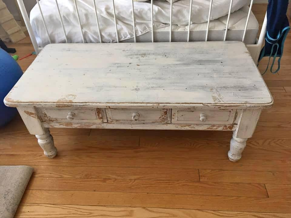 shabby chic white wood coffee table