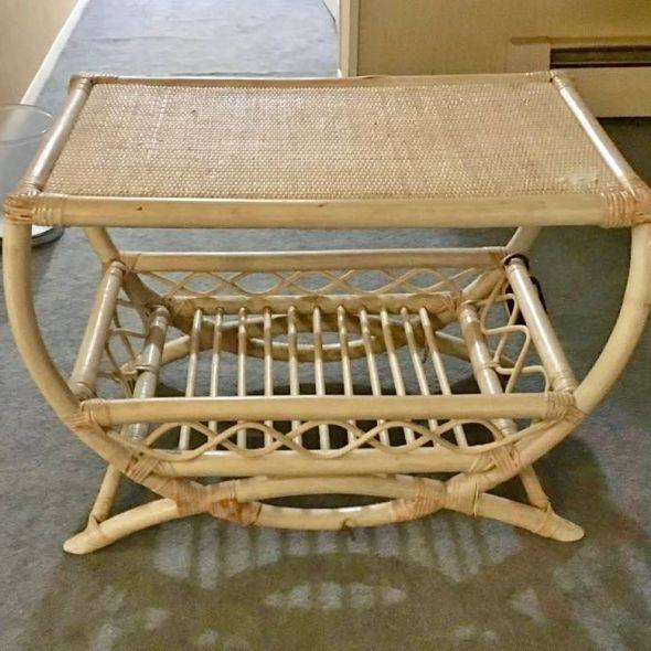 Beautiful Antiqued Bamboo & solid wicker