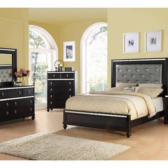 Black Upholstered Platform Full/Queen Bed w/Mirror Accents