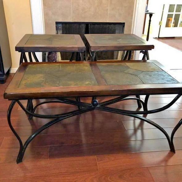 Excellent Wrought Iron Amp Slate Table Set 3 Pc Coffee Table Amp Beatyapartments Chair Design Images Beatyapartmentscom