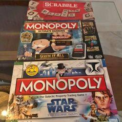 3 board games (2 monopoly & scrabble) excellent condition