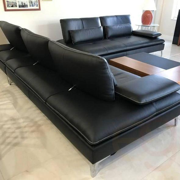 Astounding Black Designer Roche Bobois Leather Sectional Sofa In Evergreenethics Interior Chair Design Evergreenethicsorg
