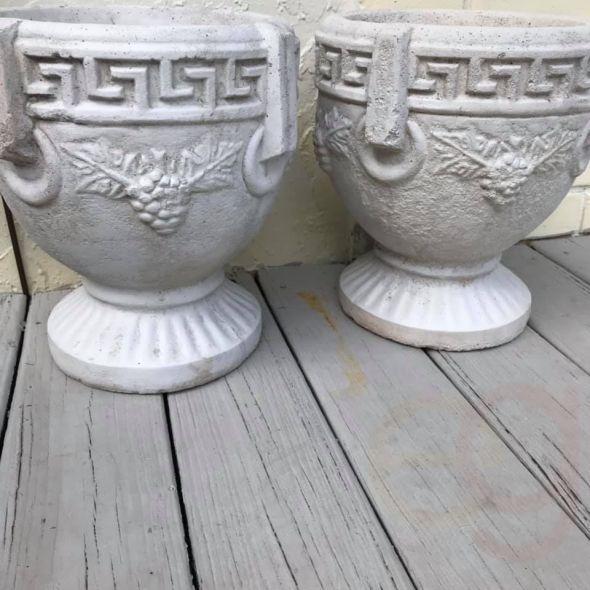 Two Concrete urn style planters / pots