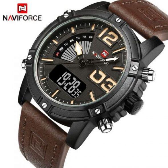 2018 NAVIFORCE Männer's Fashion Sport Uhren Männer Quarz Analog Datum Uhr Mann Leder Militärische Wasserdichte Armbanduhr Relogio Masculino